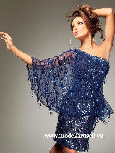 Chiffon Cocktailkleid Kurzes One Shoulder Abendkleid | Blaue Kleider ...