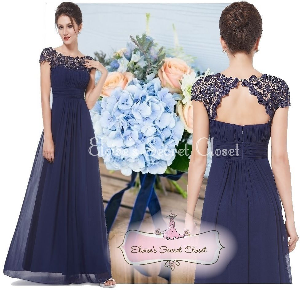 cute cheap 100% genuine pick up Details about KATIE Navy Blue Lace Chiffon Maxi Prom Evening ...