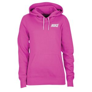 Nike Club Logo Pullover Hoodie - Women s Club Swoosh Pink White  7d89360a4