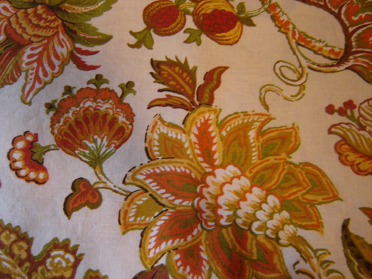 Amazing Vintage Fabric Curtains Jacobean Floral Print Gold Rust Green Retro 1970s  Flowers