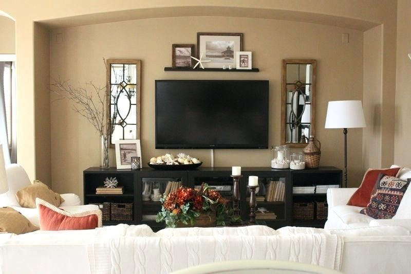 decorating around a wall mounted flat screen tv decorating