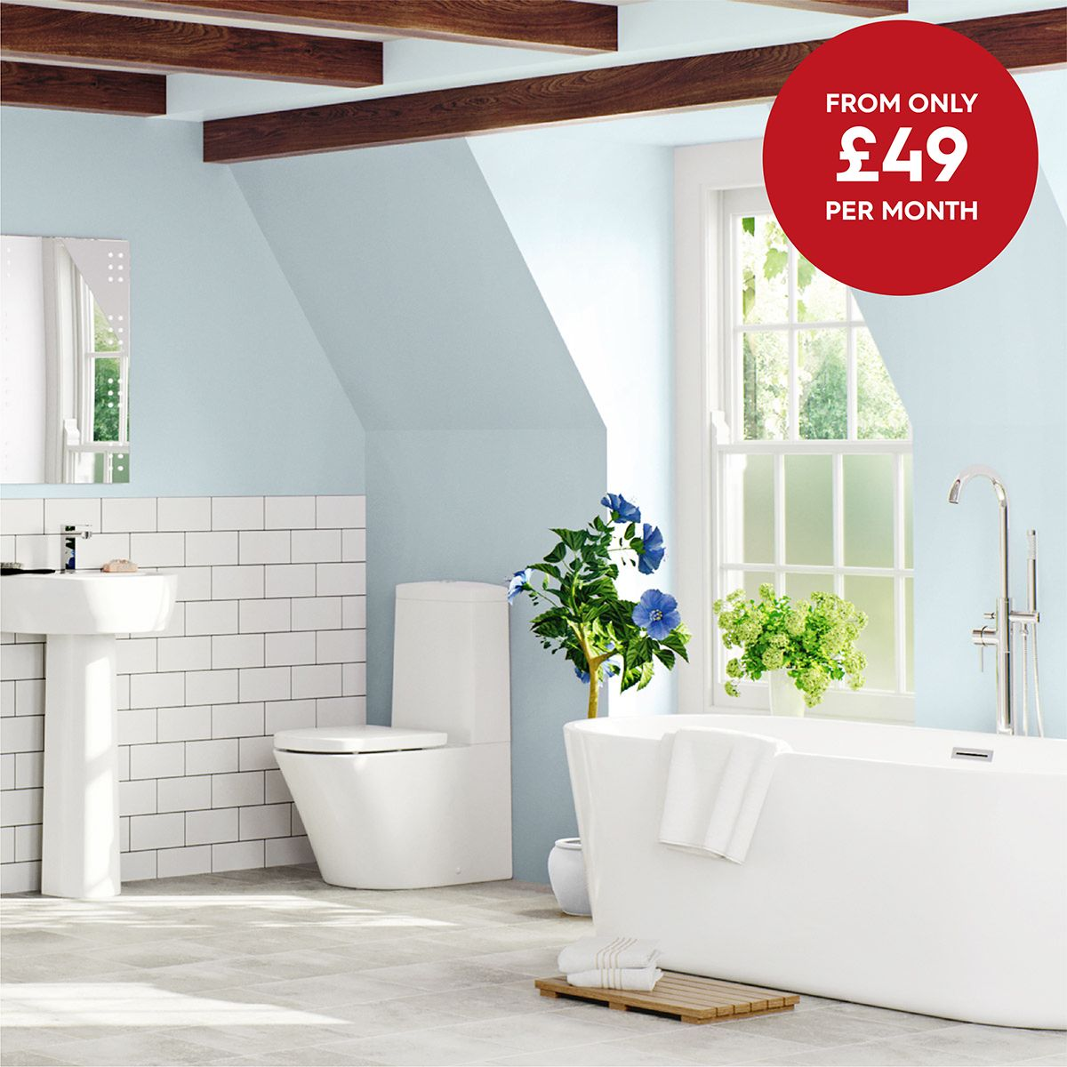 Mode Tate complete bathroom suite with Arte freestanding bath and ...