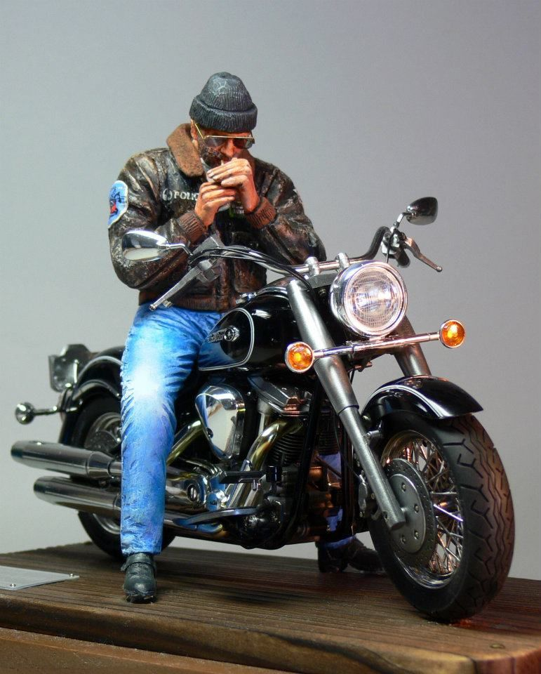Diorama - Rider + Yamaha XV 1600 Roadstar (Tamiya) by Noboru Watabe