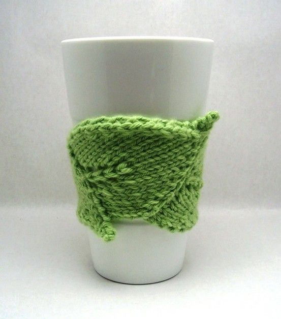leaf-shaped knit coffee cozy. PDF pattern. by maryellen | knitting ...