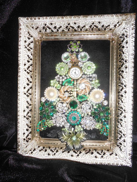 Vintage green and gold Jewelry and Gemstone Tree
