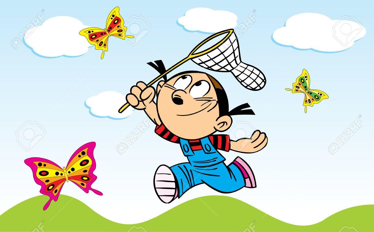 La ilustración muestra a una niña que coge una mariposa mariposas ...