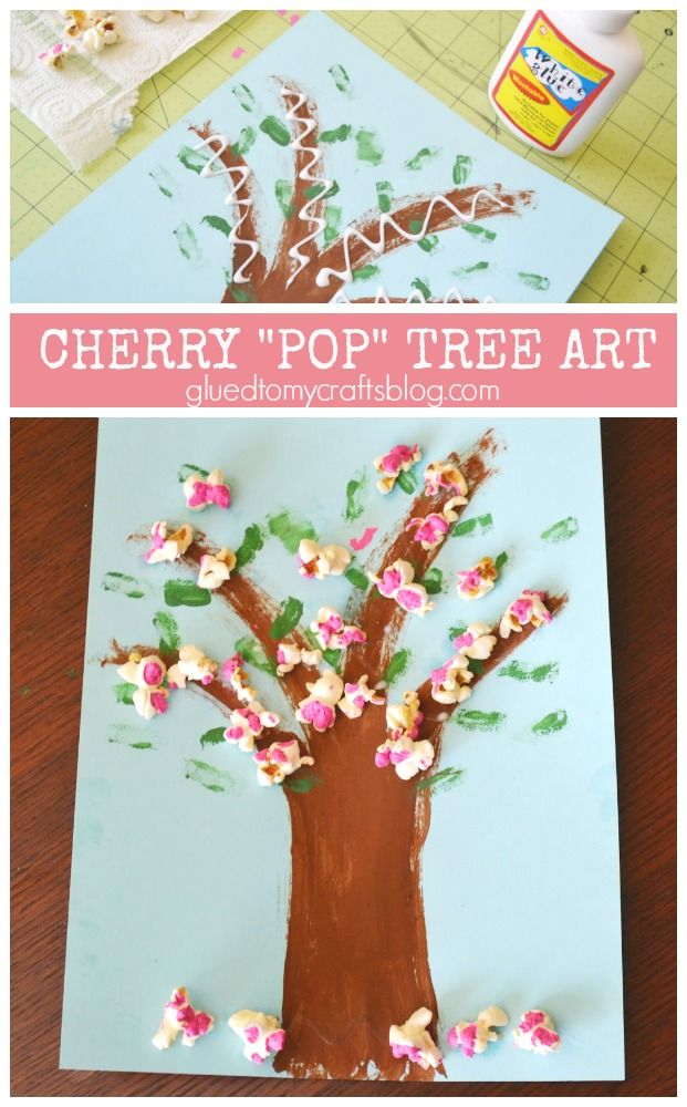 Cherry Blossom Popcorn Tree Kid Craft W Free Printable Template Crafts For Kids Spring Crafts For Kids Cherry Blossom Art