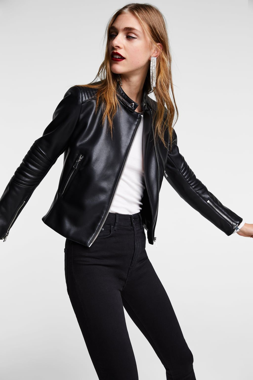 Image 3 of LEATHER LOOK BIKER JACKET from Zara Zara