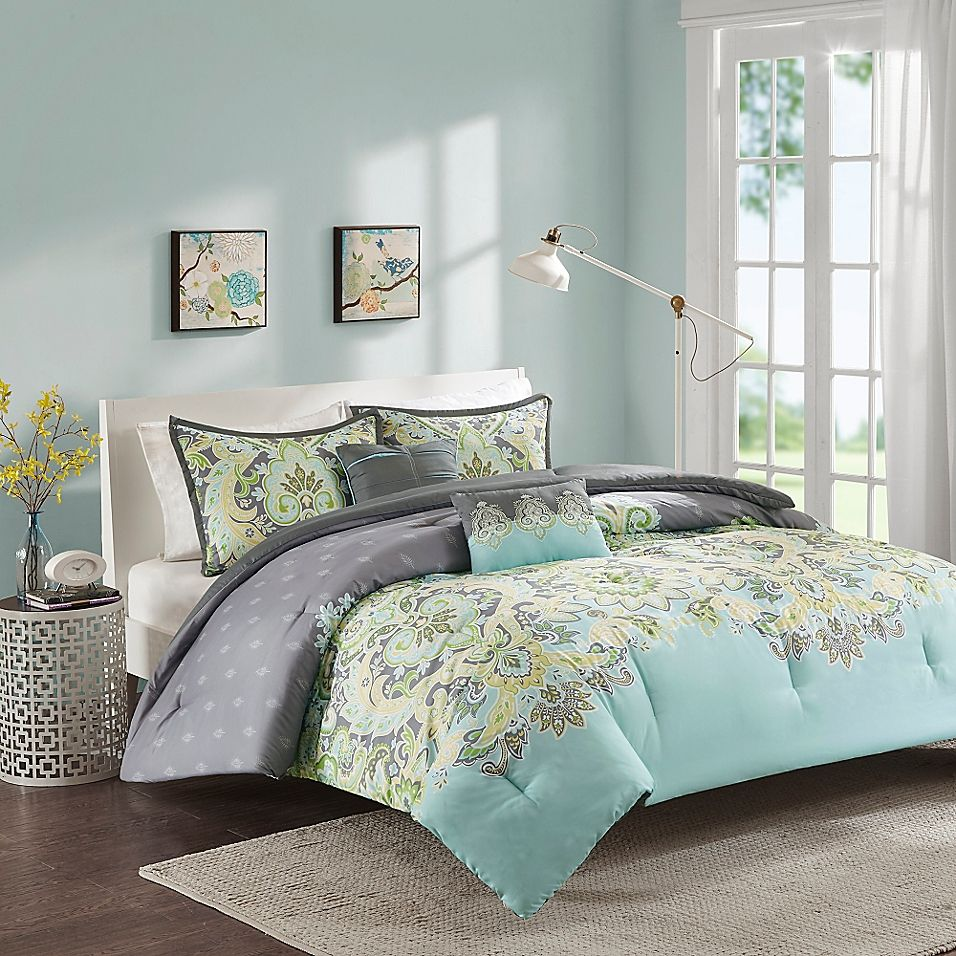 Intelligent Design Zana King California King Comforter Set In Aqua