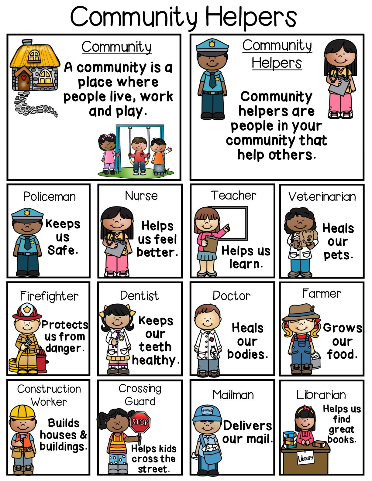 Fun and engaging community helpers poster. #esl #eslcommunityhelpers #communityhelpers