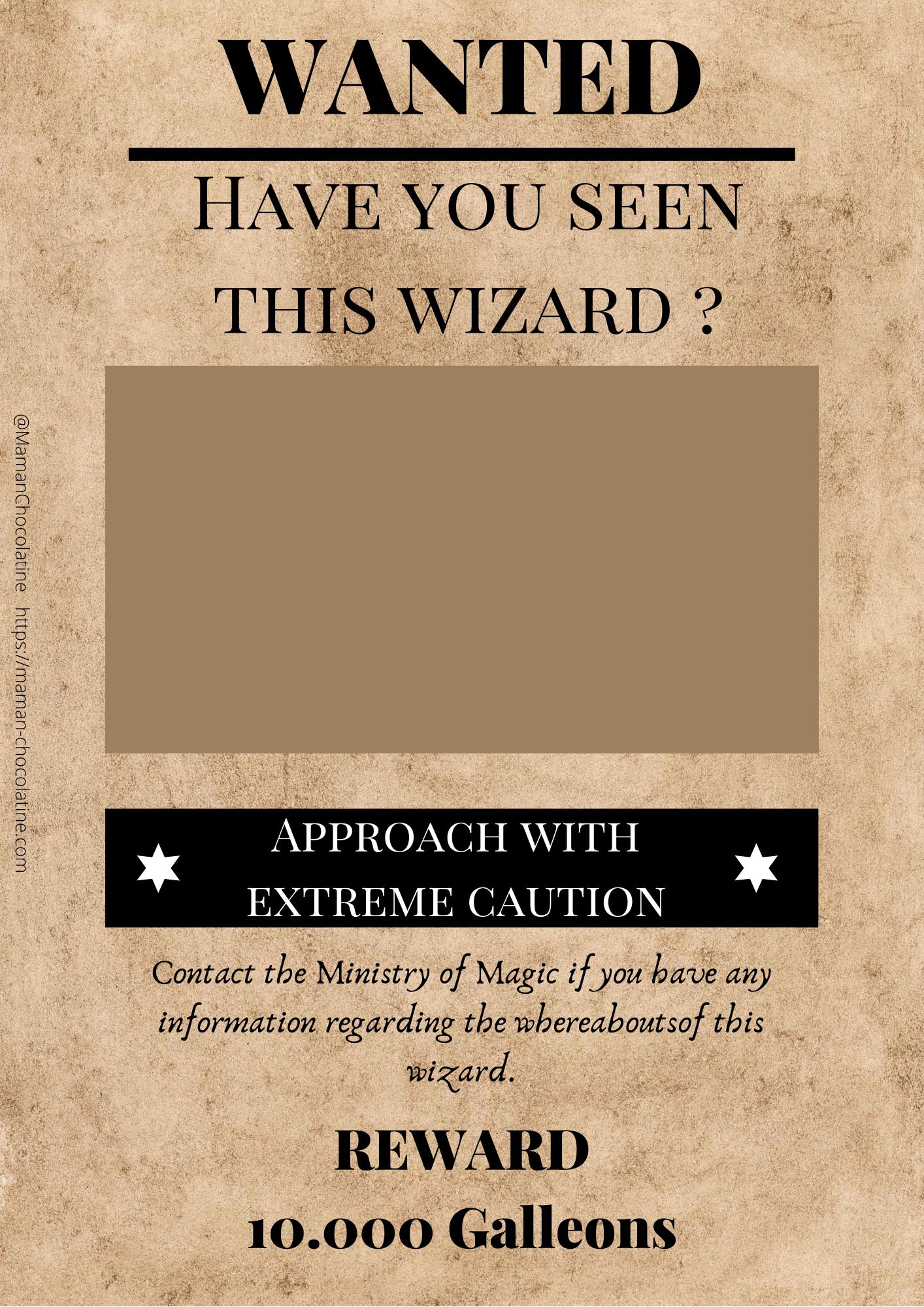 Avis De Recherche Harry Potter : recherche, harry, potter, Affiche, Wanted, Wizard, Harry, Potter, Potter,, Wanted,, Maison, Poudlard