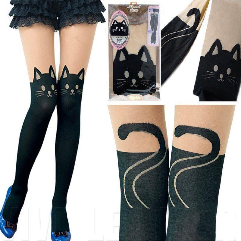 aaf656a73 Women Cute Kitten Print Sexy Socks Cat Tall Tattoo Tights Pantyhose Black  $5.99