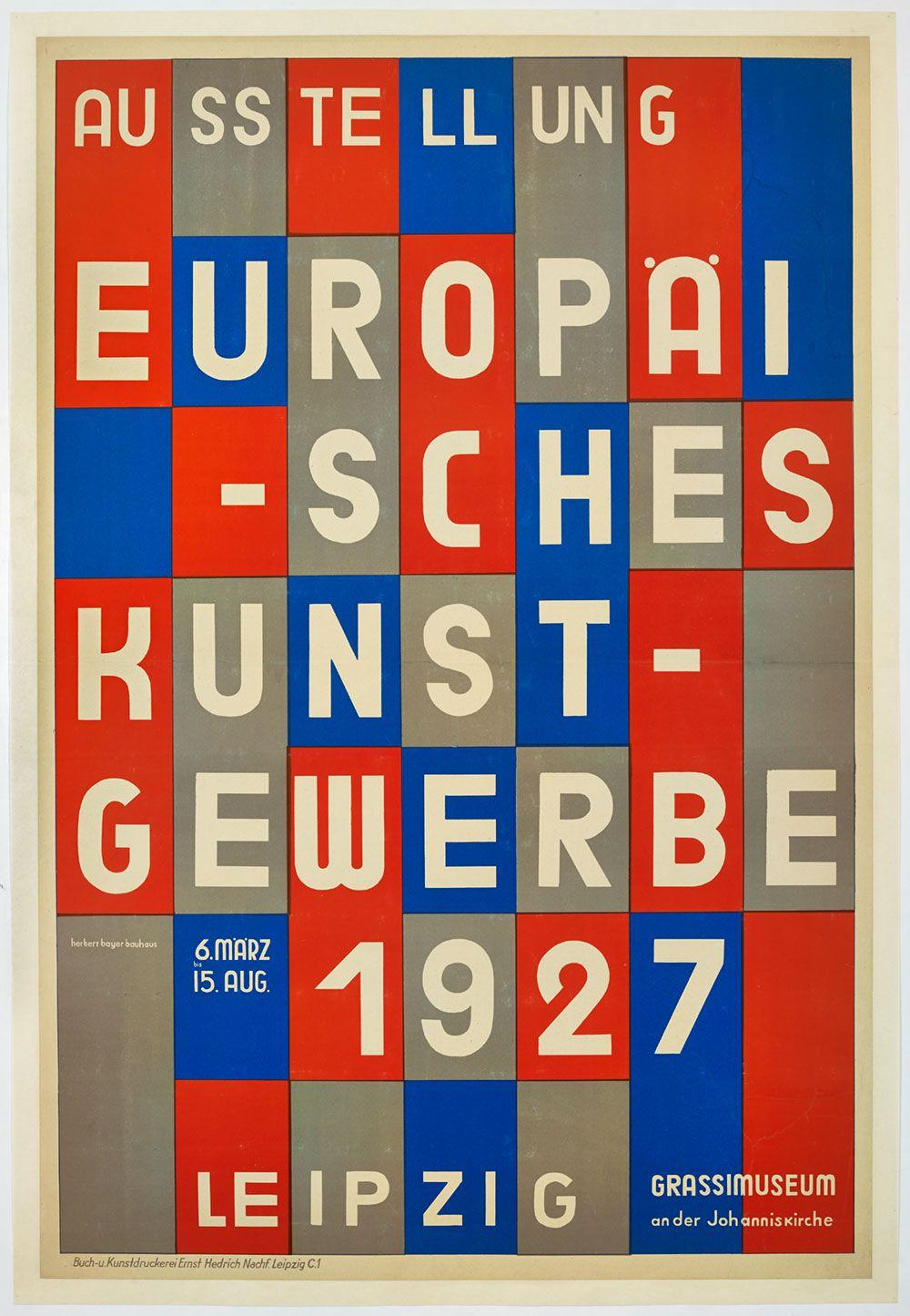 Poster Ausstellung Europaisches Kunstgewerbe 1927 Herbert Bayer In 2020 Poster Creator Poster Design Graphic Design