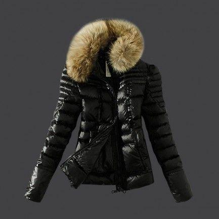 Moncler Women Down Coat Fur Collar Black Outlet M1097