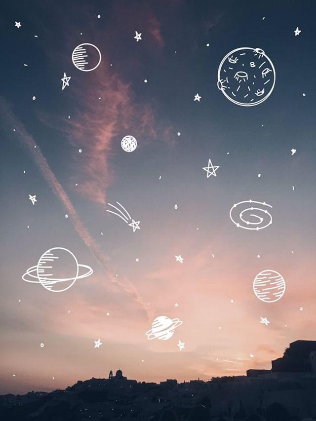 illustration sky sunset space planets doodles