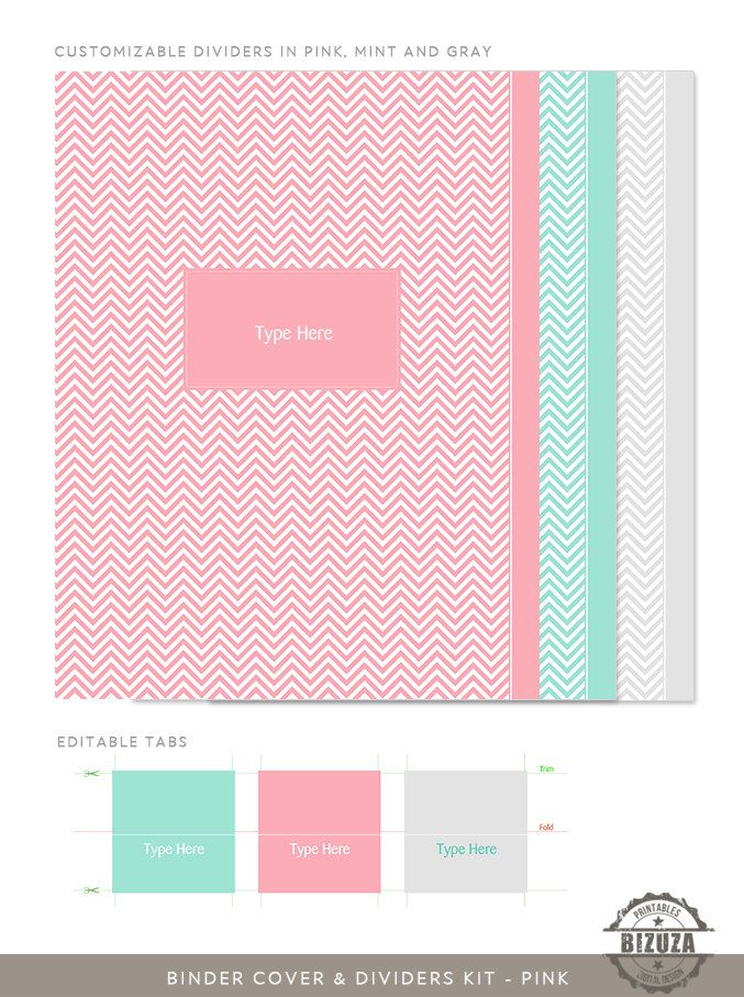 Binder Cover, Spine Inserts and Tabbed Dividers in Pink & Gray Chevron, Customizable, Editable PDF. $8.00, via Etsy.