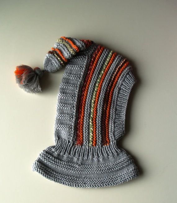 Grey elf hat, Hand Knit Balaclava for Baby, Toddler, Child, Hat with Pom Pom Tail. Made to order sizes 6-12m, 1-3-6-10y