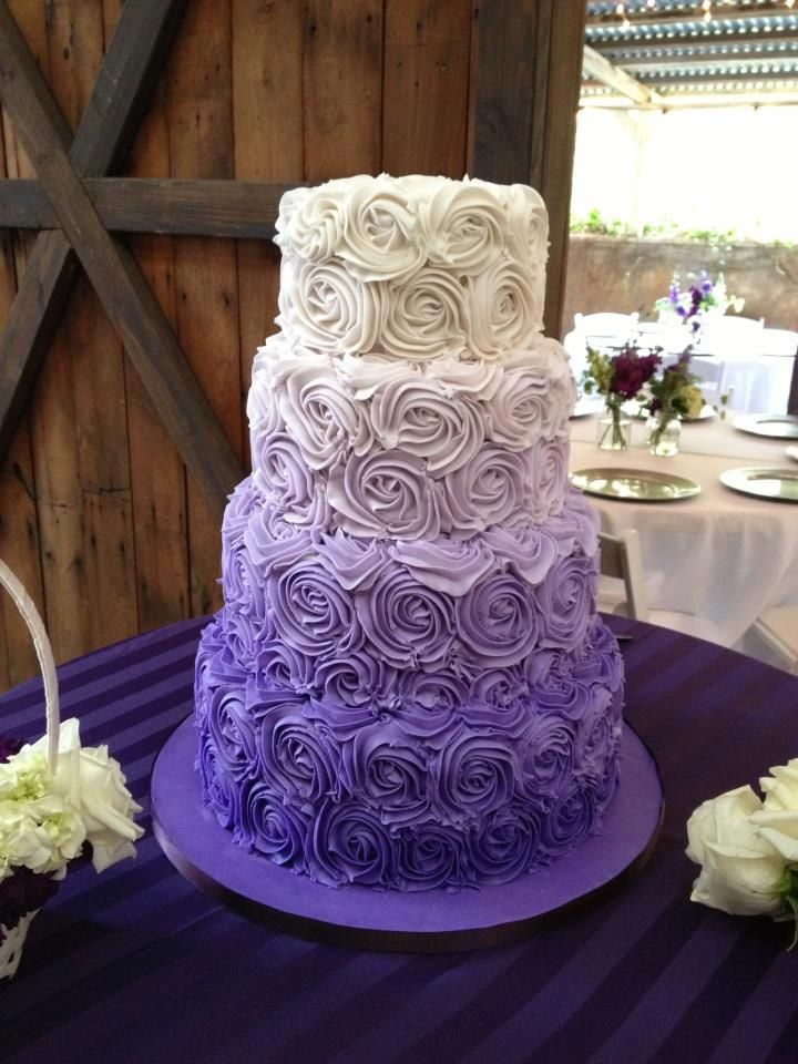 26 Oh So Pretty Ombre Wedding Cake Ideas   Purple Weddings     Purple Wedding Cake Wedding ideas for brides So cool  Great for purple  weddings