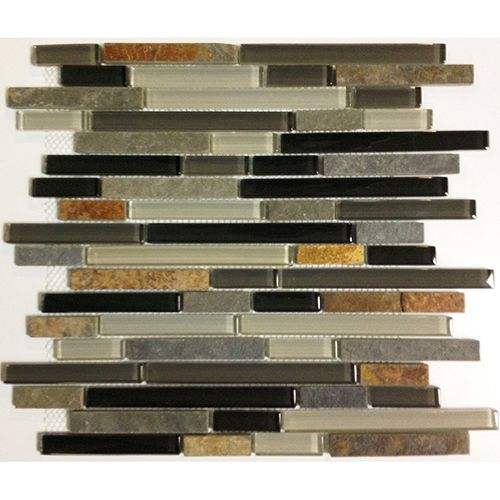"""12 Awesome Backsplashes That Aren T Tile: Mosaic 12""""x12"""" Cool Earth Slate/Glass Linear"""
