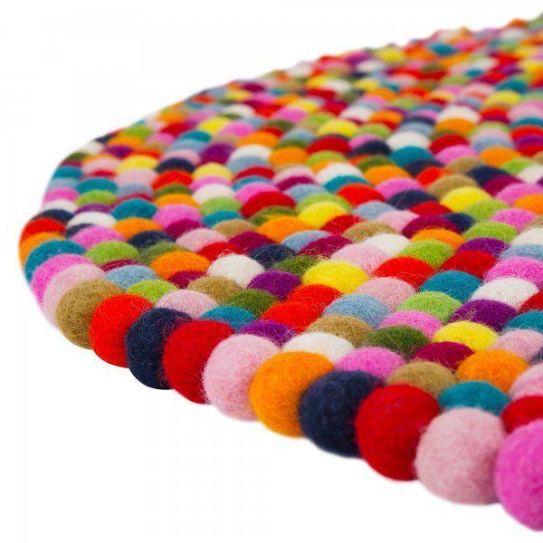 Round Multi Coloured Felt Ball Rug
