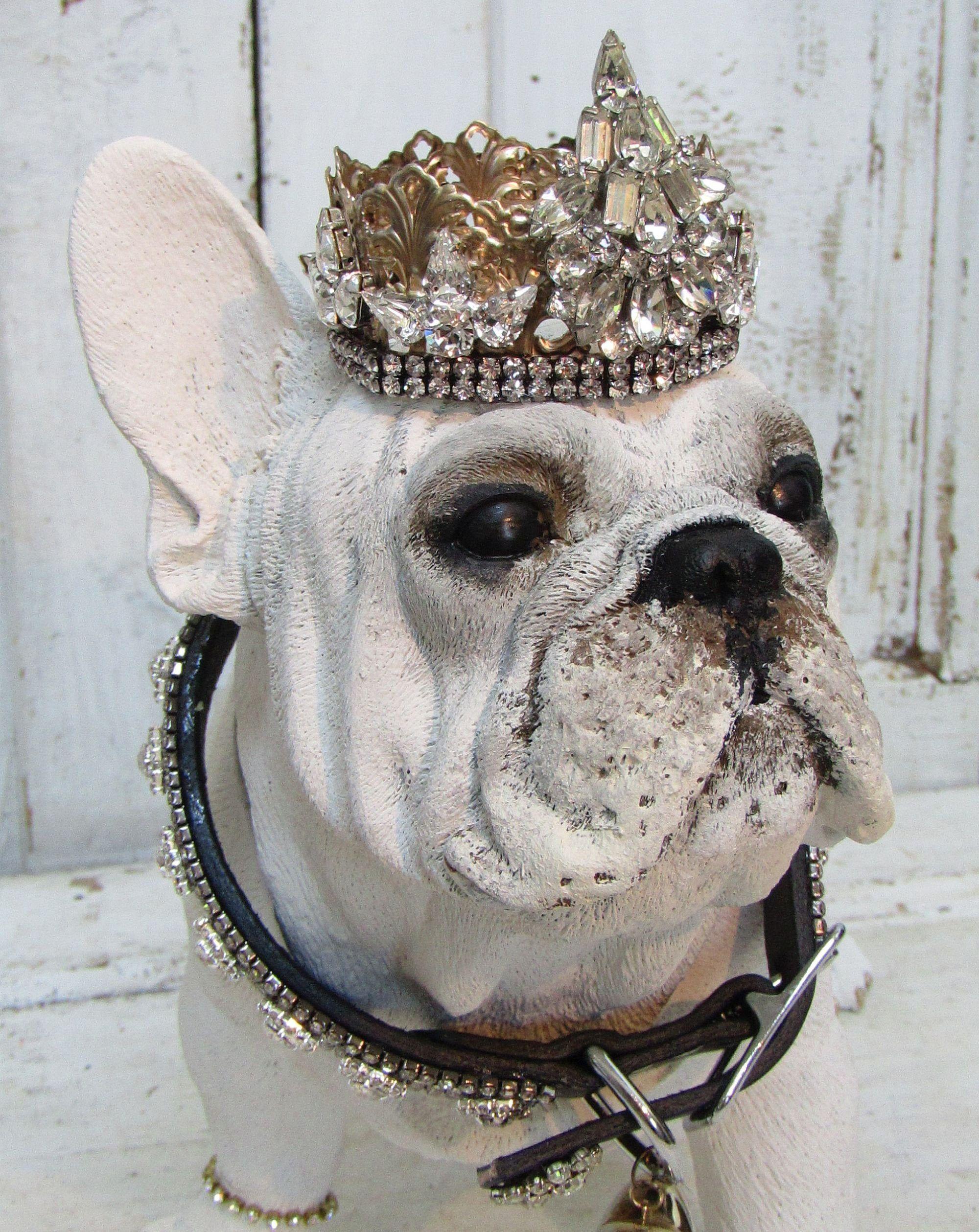 Albino French bulldog statue w/ handmade crown and