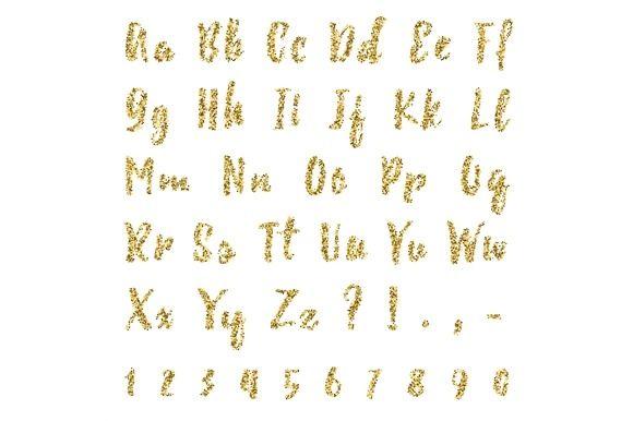 Gold dotted confetti alphabet by Sunshine Art Shop on @mywpthemes_xyz