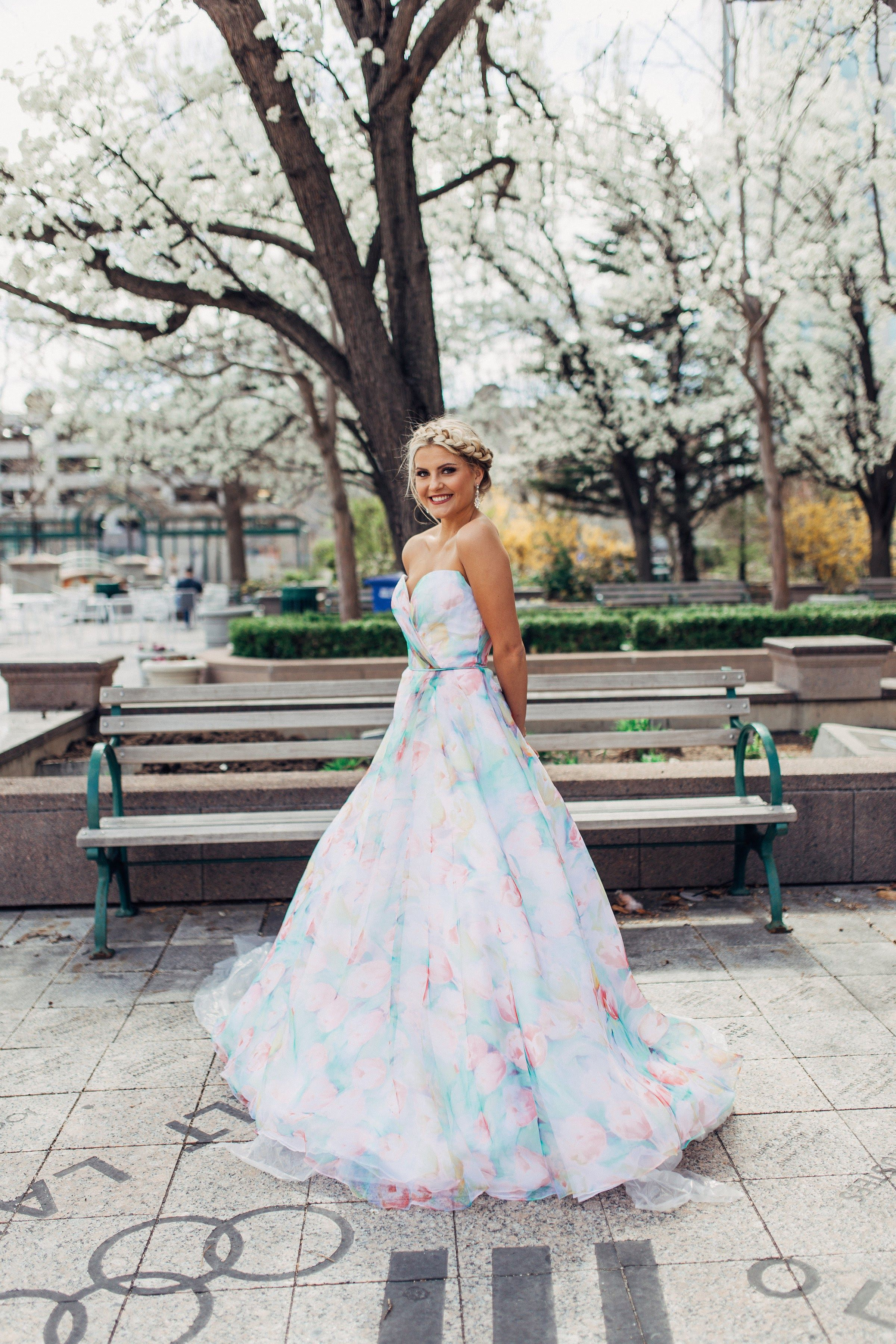 be98829d238 Sherri Hill Strapless Floral Watercolor Print Ballgown Sweetheart Neckline Ypsilon  Dresses Prom Pageant Evening Gown Homecoming Sweethearts Black Tie Gala ...