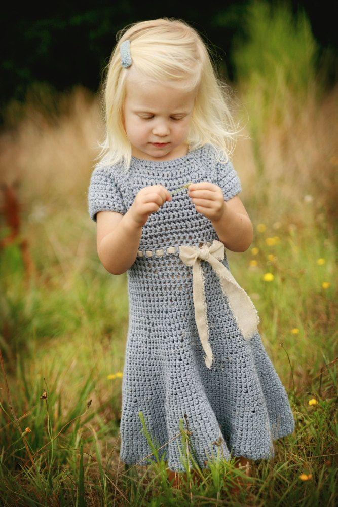 Girls Dress - knit baby dress - organic blue knit girls dress - baby ...