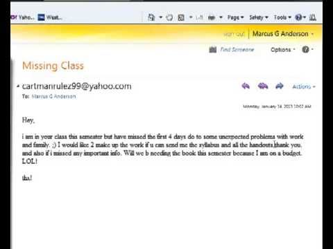 email to professor about missing class example