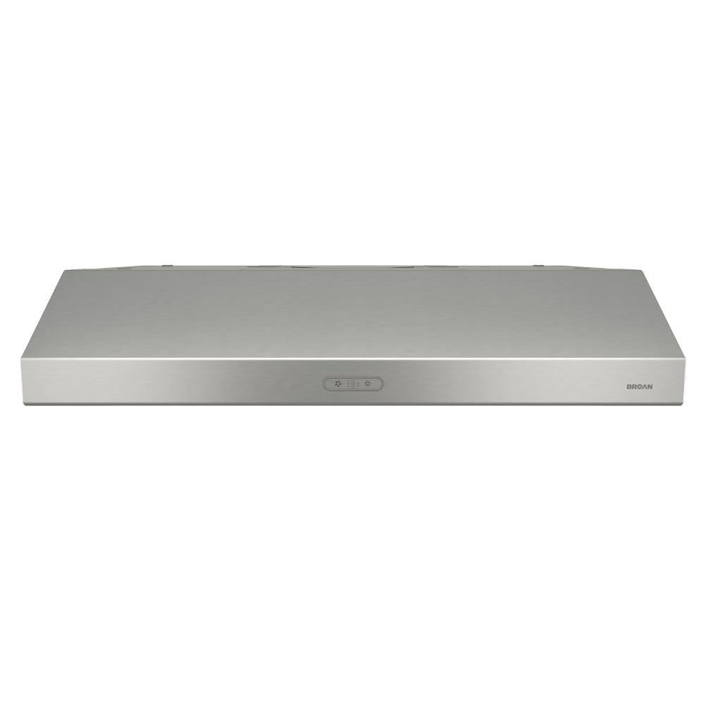 Broan Nutone Glacier Deluxe 36 In Convertible Under Cabinet Range Hood With Light In Stainless Steel Bcdf136ss The Home Depot Range Hood Broan Under Cabinet Range Hoods