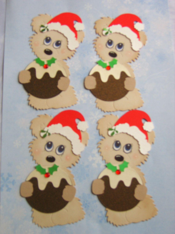Christmas Toppers For Card Making.4 Santa Bear Christmas Pudding Card Making Embellishment