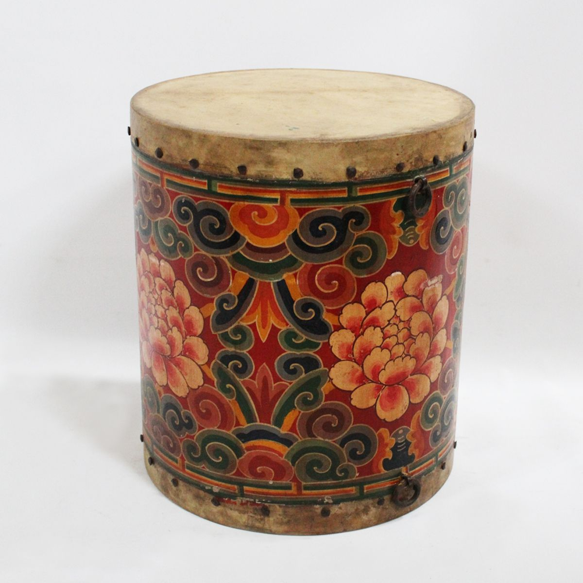 Superb Hand Painted Tibetan Wood Drum. Firm Leather Top And Bottom With Iron Rivet  Details.