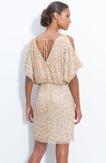 7d71945f74b Aidan Mattox Bloused Cold Shoulder Sequin Dress