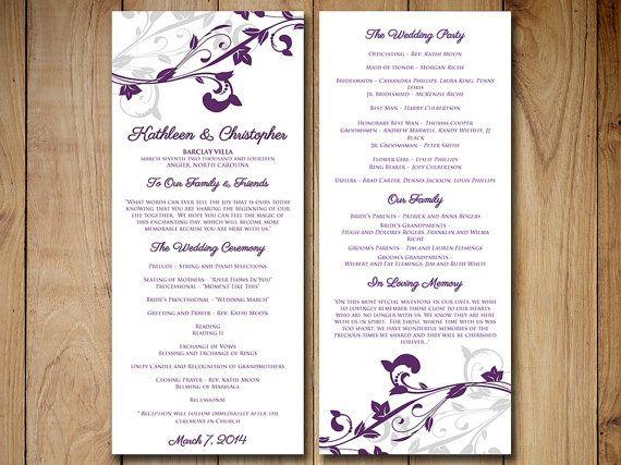 Wedding Program Template Download Eggplant Purple Silver