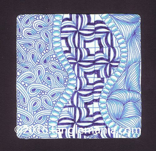 Tangle Mania: 'nzeppel...Patterns used: Danza, Sand Swirl, lines, and orbs