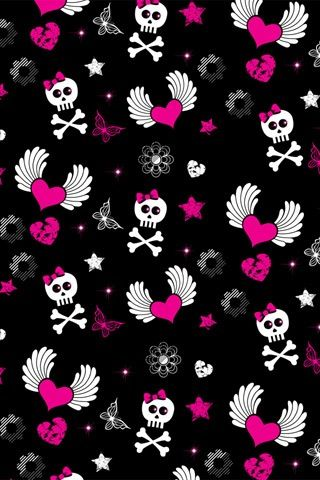 Skullandcrossbones Wingedhearts Pink Cute Skull Wallpaper Iphone Wallpaper Pattern Skull Wallpaper Iphone