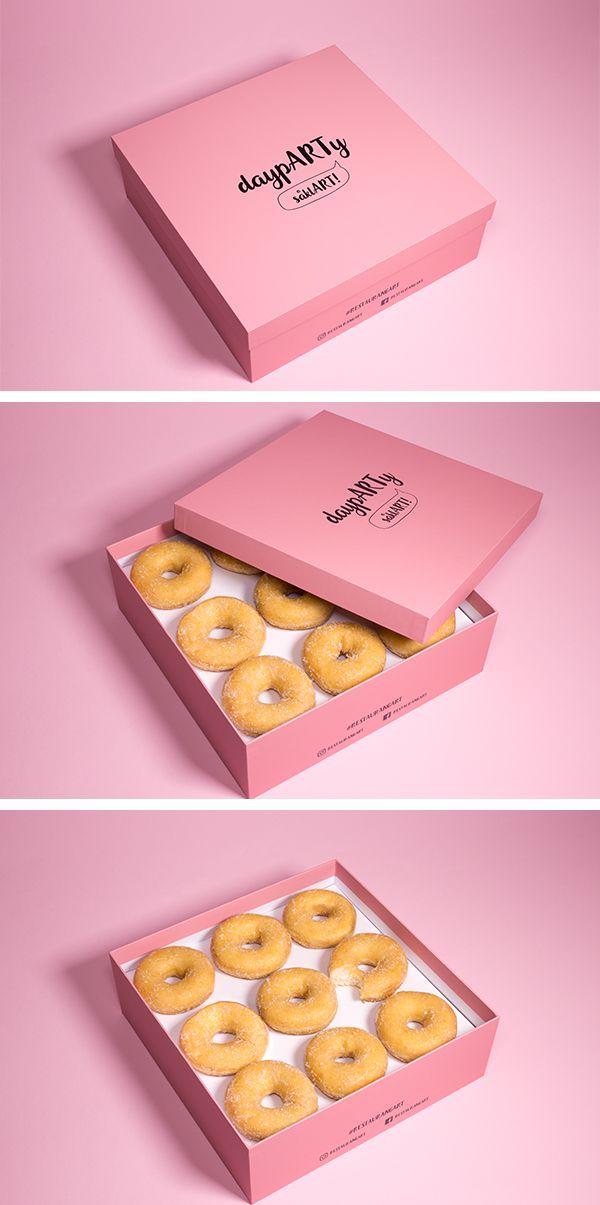 Download Pink Donut Box Kemasan Desain Makanan Kemasan