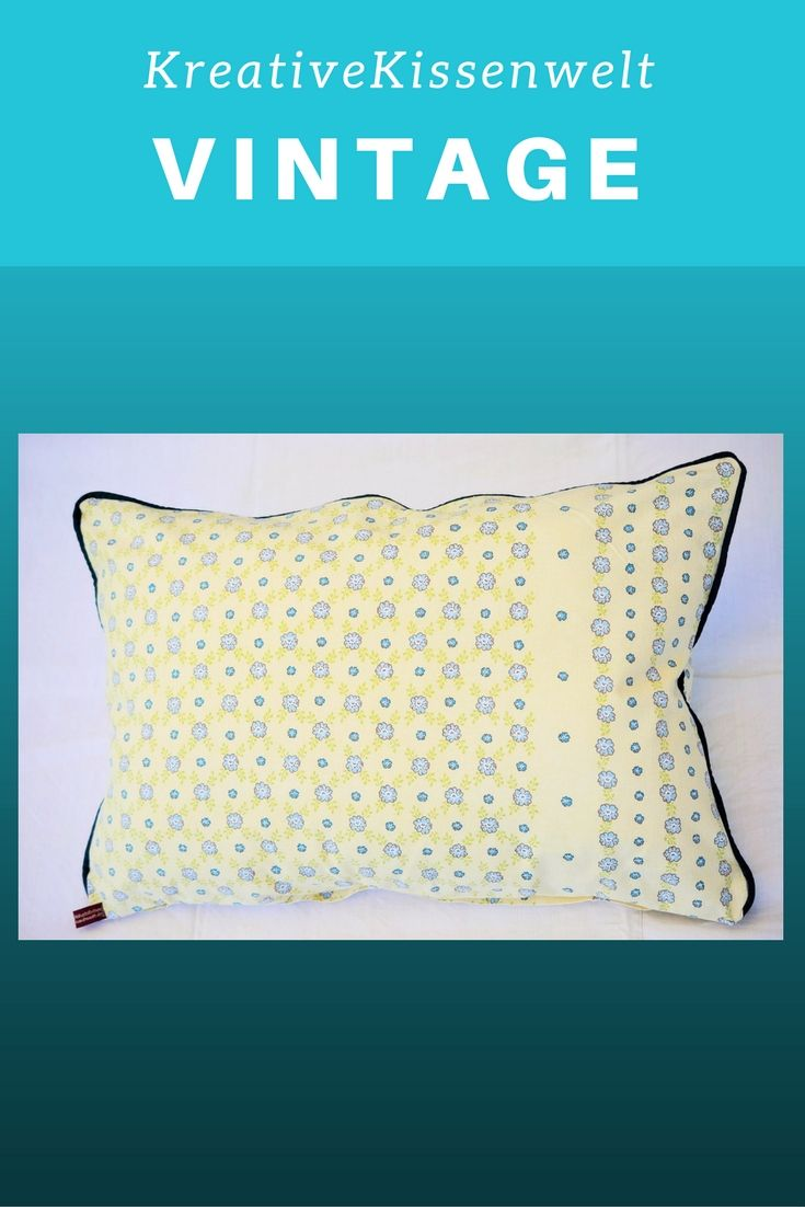 Retro Bettwäsche Pillow Case Cushion Cover With Blue Flowers 60x40 Cm 23 5x15 75