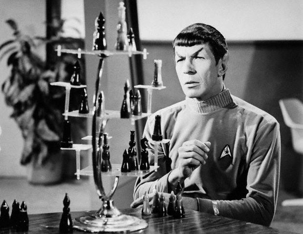 Leonard Nimoy as logical Mister Spock from 'Where No Man has Gone Before'.