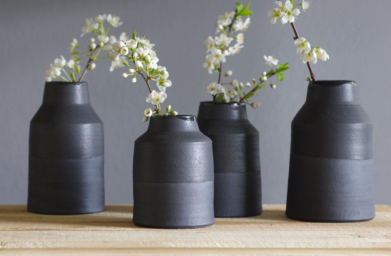 Mto 3 black vase bottle set matte black stoneware clay modern mto 3 black vase bottle set matte black stoneware clay modern minimal pottery reviewsmspy