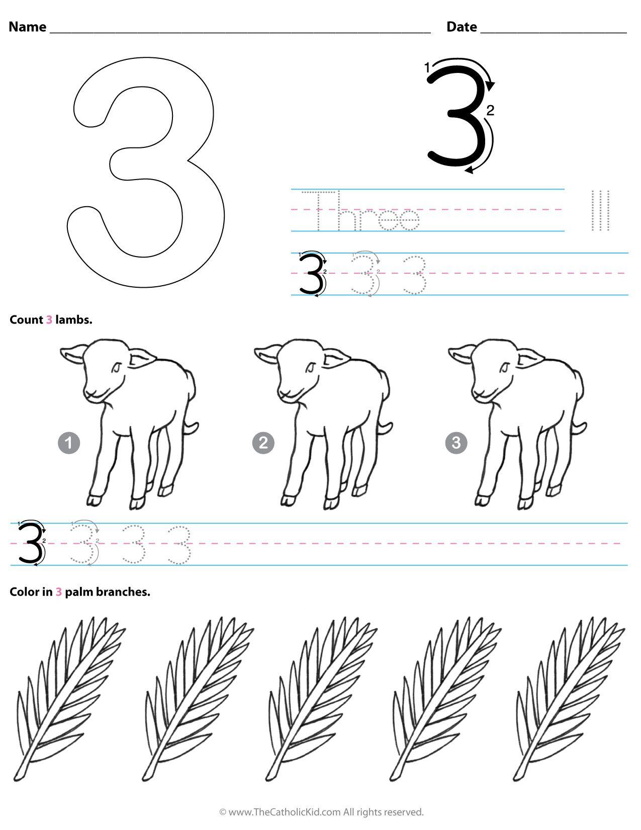 Catholic Number 3 Worksheet Preschool Kindergarten Coloring Page -  TheCatholicK…   Preschool worksheets [ 1650 x 1275 Pixel ]