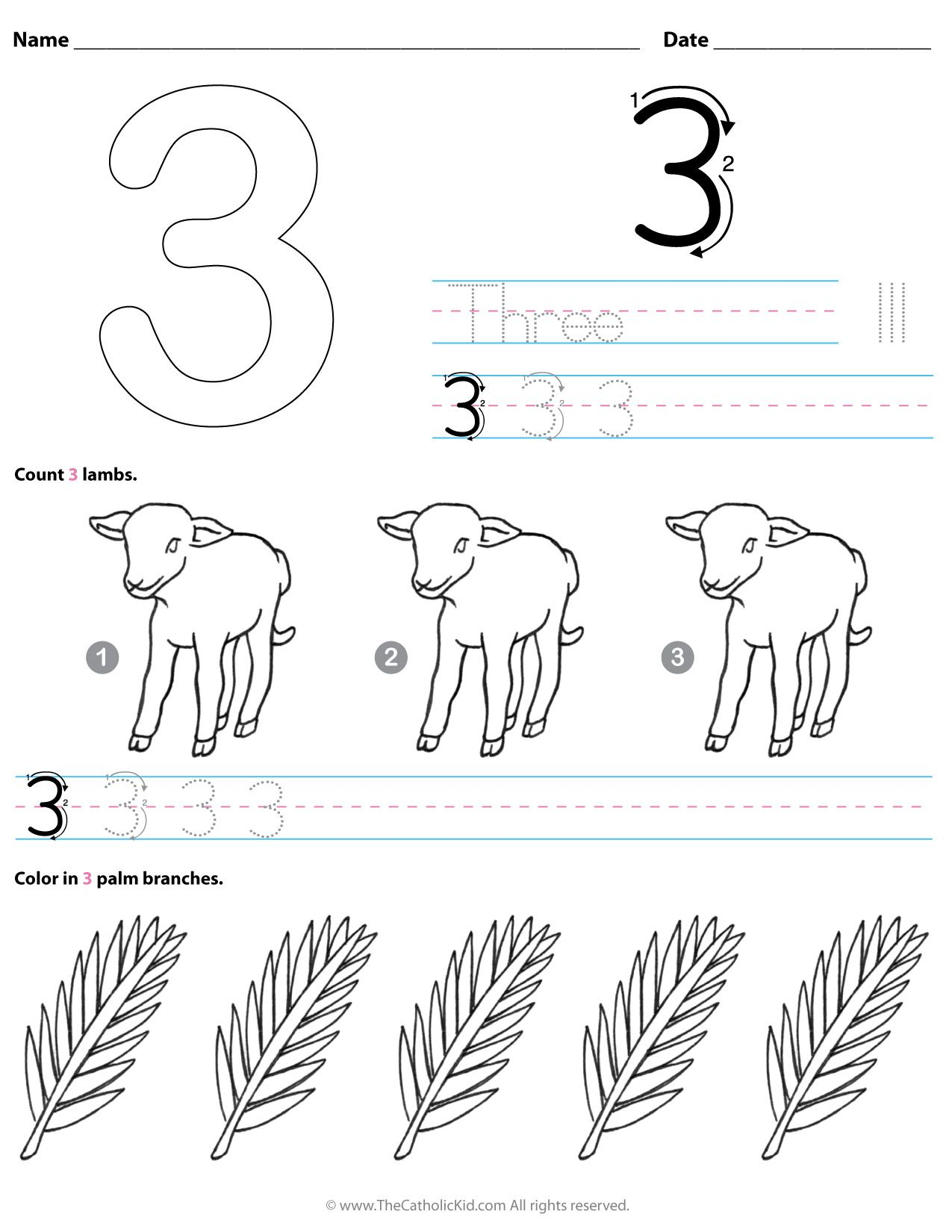 Catholic Number 3 Worksheet Preschool Kindergarten