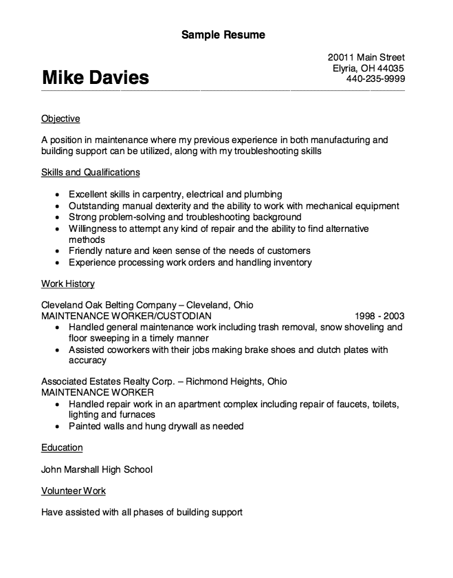 Maintenance Worker Resume Sample  HttpResumesdesignCom