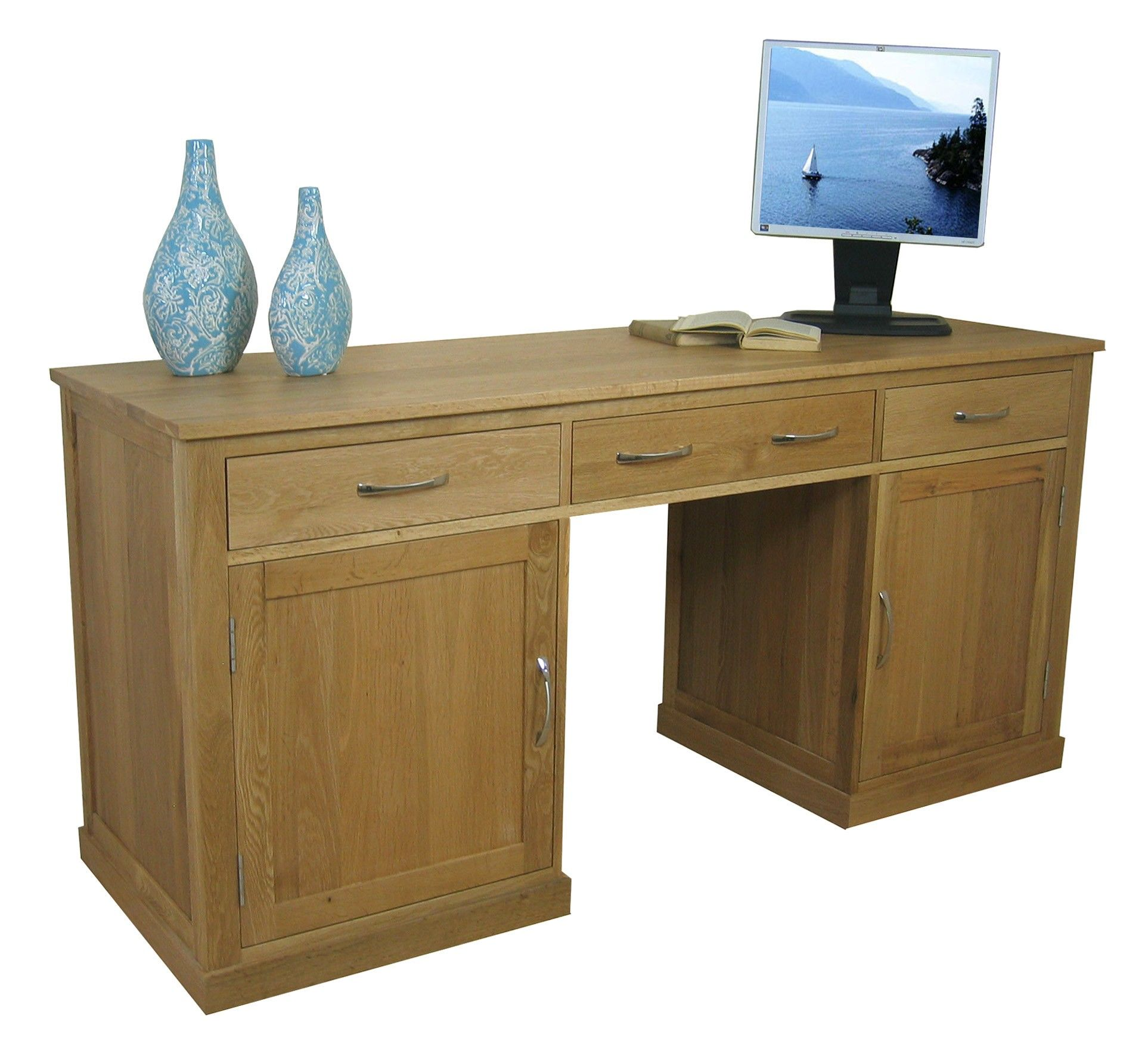 if you have a larger space for your home office what about this mobel oak hidden office twin pedestal desk