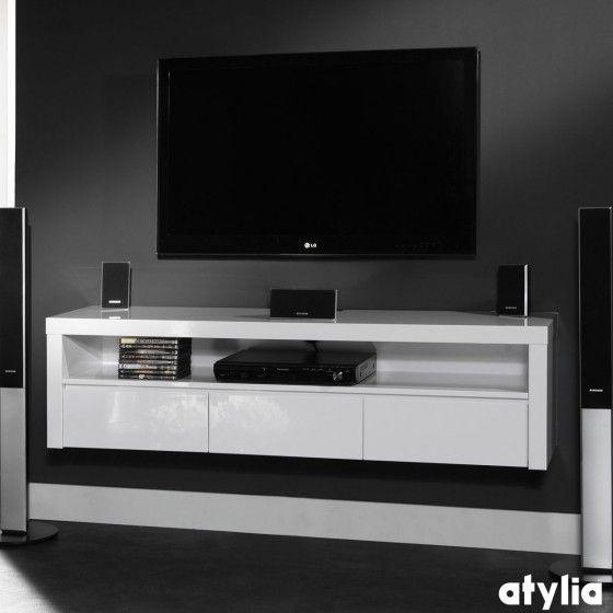 meuble tv design suspendu beatriz blanc brillant atylia d coration int rieure pinterest. Black Bedroom Furniture Sets. Home Design Ideas
