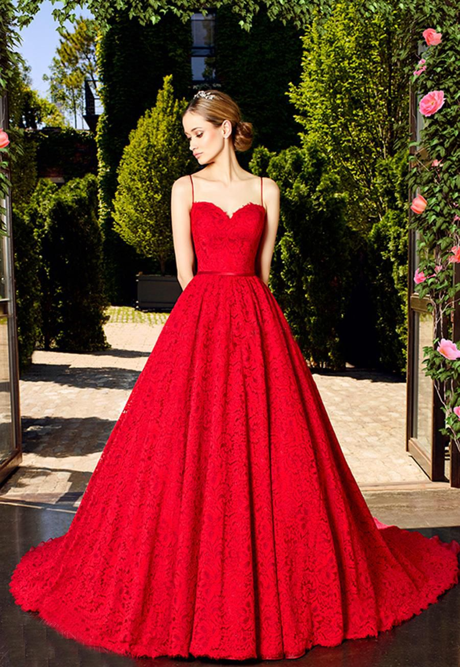 New Style ALine Spaghetti Straps Red Lace Long Prom Dress Wedding