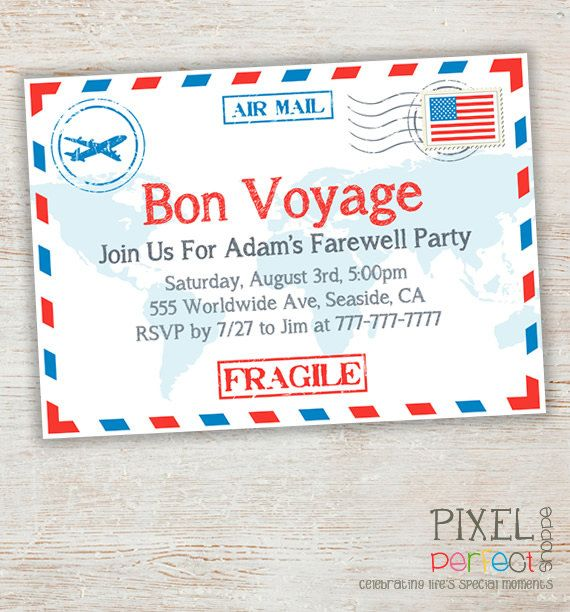 Travel  Farewell Party Invitation Bon Voyage  Going Away Party