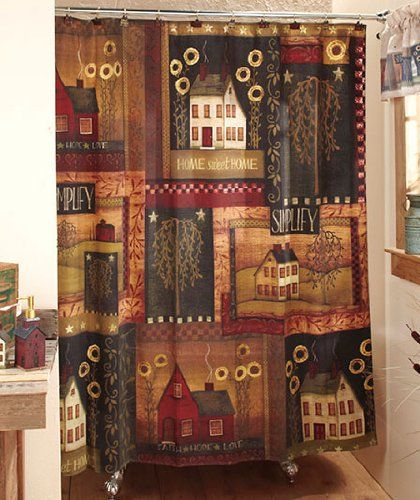 Simplify Primitive Country Home Fabric Shower Curtain LK