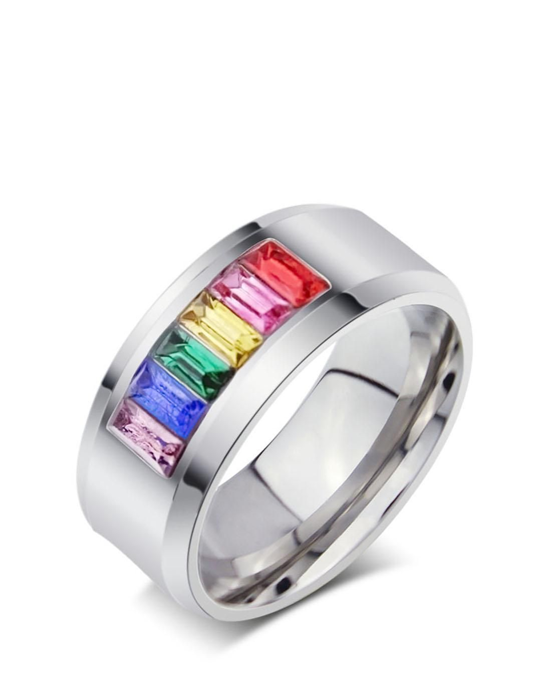 #AdoreWe #VIPme Rings - Vnox Stainless Steel Crystal Link Rectangular Rainbow Band Ring - AdoreWe.com