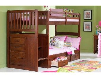 Possible Bed For The Girls Momsbunkhouse Com Merlot Staircase Bunk Bed With Drawers Or Tru Bunk Beds With Stairs Bunk Bed With Trundle Bunk Beds With Storage